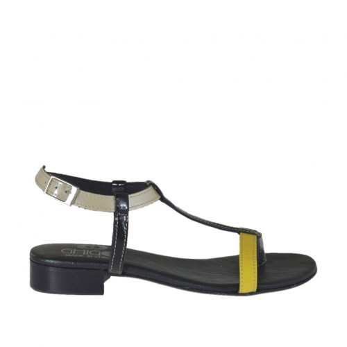 Woman's thong sandal with strap in black, yellow and pearly beige patent leather heel 2 - Available sizes:  32, 42, 43