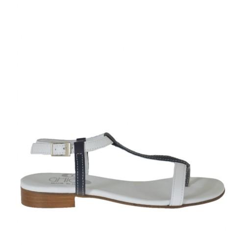 Sandale entredoigt pour femmes avec courroie en cuir blanc et bleu talon 2 - Pointures disponibles:  34, 42, 44