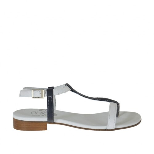 Woman's thong sandal with strap in white and blue leather heel 2 - Available sizes:  42, 44