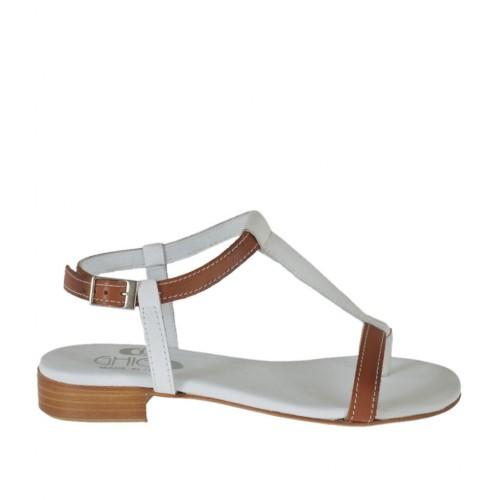 Sandale entredoigt pour femmes avec courroie en cuir blanc et brun clair talon 2 - Pointures disponibles:  34, 42