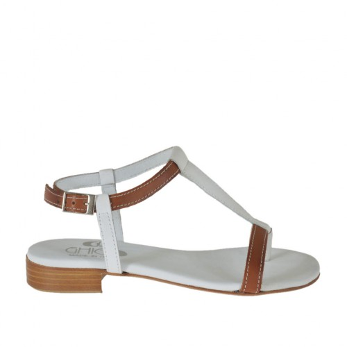 Woman's thong sandal with strap in white and tan brown leather heel 2 - Available sizes:  34, 42