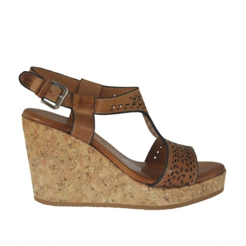 Woman's sandal in tan brown pierced leather with platform and wedge 8 - Available sizes:  45