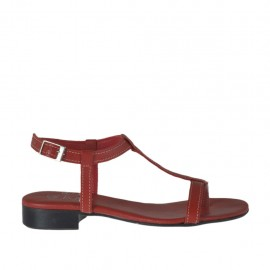 Woman's thong sandal with strap in red leather heel 2 - Available sizes:  32, 33, 34, 42, 43, 44, 45