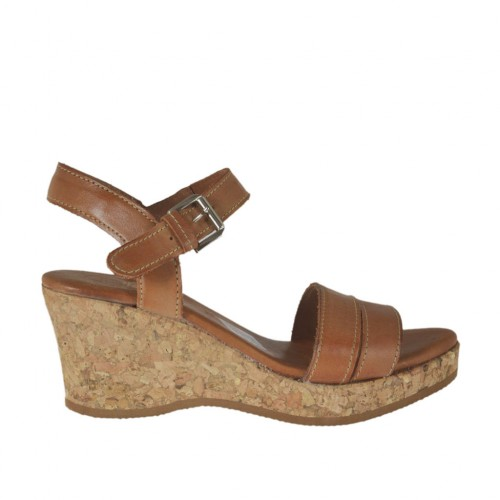 Woman's strap sandal in tan brown leather with platform and wedge 6 - Available sizes:  43, 45
