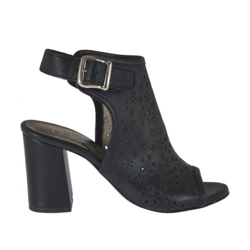 Woman's highfronted sandal in black pierced leather heel 7 - Available sizes:  42