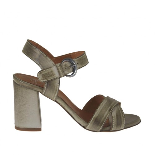 Woman's strap sandal in taupe leather heel 7 - Available sizes:  43, 45