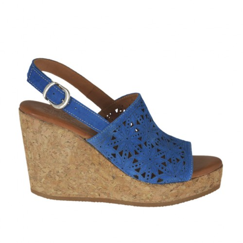 Woman's sandal in blue pierced suede with platform and wedge 8 - Available sizes:  43, 44