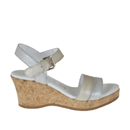 Woman's strap sandal in silver and platinum laminated printed leather with platform and wedge 6 - Available sizes:  44
