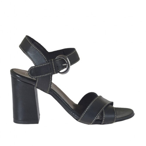 Woman's strap sandal in black leather heel 7 - Available sizes:  42