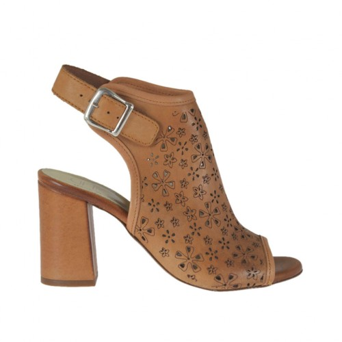 Woman's highfronted sandal in tan brown pierced leather heel 7 - Available sizes:  42