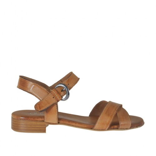 Woman's sandal with strap in tan brown leather heel 2 - Available sizes:  34, 42, 43, 44, 45
