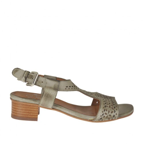 Woman's sandal in taupe pierced leather heel 3 - Available sizes:  42, 43, 44