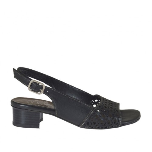 Woman's sandal in black leather and pierced leather heel 3 - Available sizes:  32, 33, 42