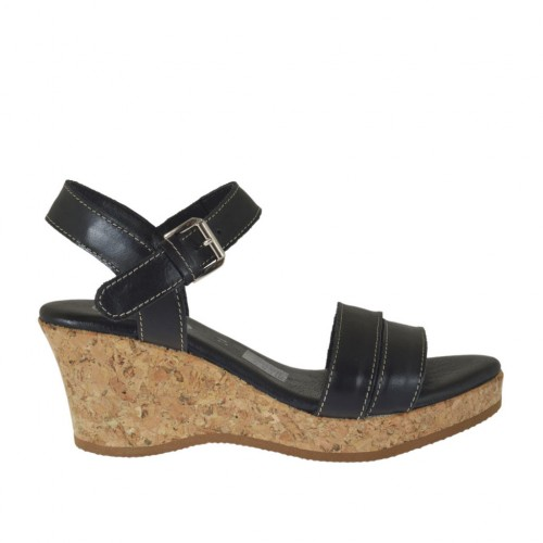 Woman's sandal in black leather with strap, platform and wedge 6 - Available sizes:  32, 42, 43, 44, 45
