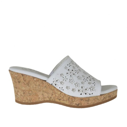 Woman's open mules in pierced white leather with platform and wedge heel 6 - Available sizes:  42