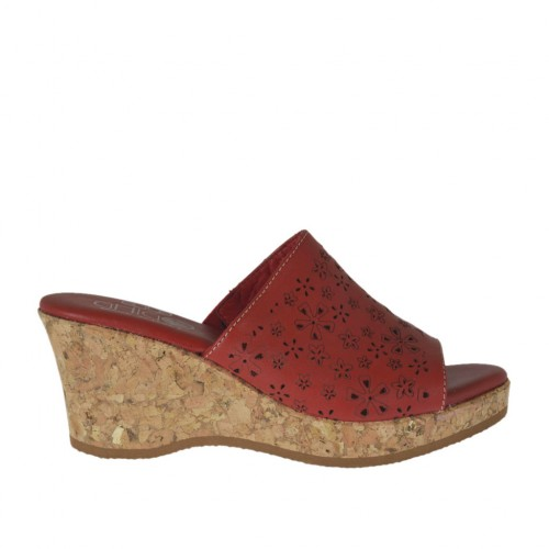 Woman's open mules in pierced red leather with platform and wedge heel 6 - Available sizes:  42