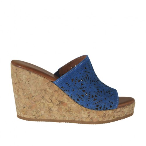Woman's open mules in blue pierced suede with platform and wedge heel 8 - Available sizes:  42