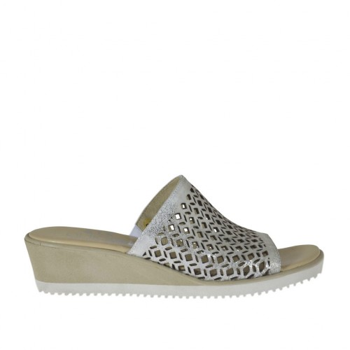 Woman's open mules in silver laminated pierced leather wedge heel 4 - Available sizes:  33, 34, 42, 43, 44, 45