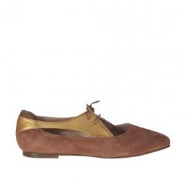 Chaussure à lacets ouvert pour femmes en daim brun clair et cuir lamé bronze talon 1 - Pointures disponibles:  32, 33, 34, 42, 43, 44