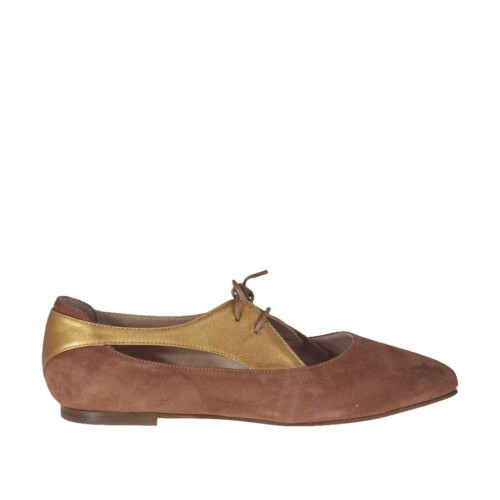 Woman's laced shoe with sidecuts in tan brown suede and bronze laminated leather heel 1 - Available sizes:  32, 33, 34, 42, 43, 44