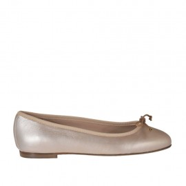 Woman's ballerina shoe with bow in rose laminated leather heel 1 - Available sizes: 32, 33, 34, 42, 43, 44, 45, 46