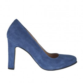 Zapato de salón con plataforma en gamuza azul tacon 9 - Tallas disponibles: 32, 33, 34, 42, 43, 44