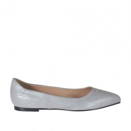 Woman's pointy ballerina shoe in silver printed leather heel 1 - Available sizes: 32, 33, 34, 42, 43, 44, 46