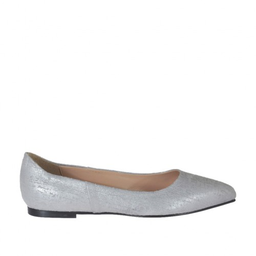 Ballerina da donna con punta sfilata in pelle stampata argento tacco 1 - Misure disponibili: 32