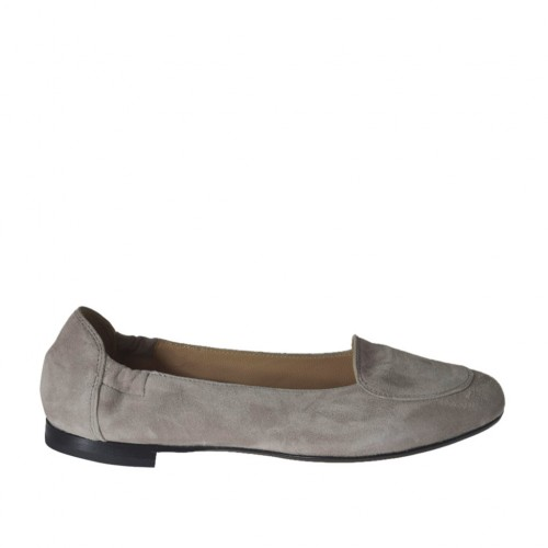 Woman's highfronted ballerina in grey suede heel 1 - Available sizes:  32, 33, 34