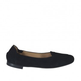 Woman's highfronted ballerina in black suede heel 1 - Available sizes: 32, 33, 34, 43, 44, 45