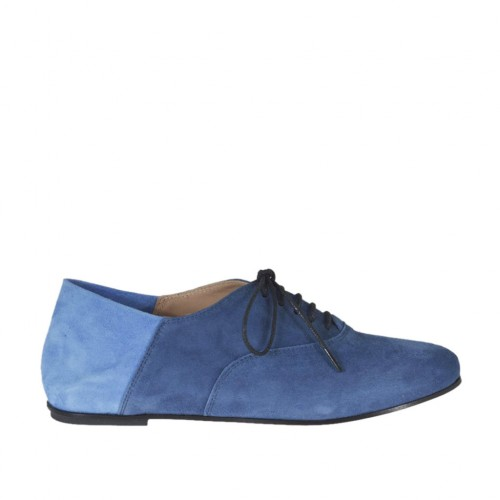 Woman's laced shoe in blue and light blue suede heel 1 - Available sizes:  32, 33, 34, 43, 46