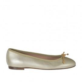 Zapato bailarina para mujer con moño en piel laminada platino tacon 1 - Tallas disponibles:  32, 33, 34, 45