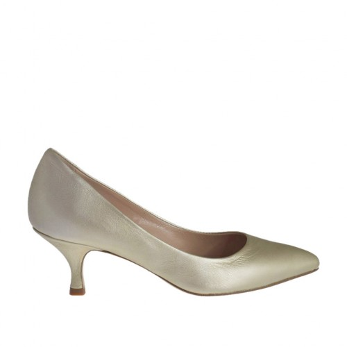 Woman's pump in platinum laminated leather heel 5 - Available sizes:  32, 34, 44