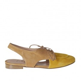 Woman's laced slingback pump in yellow and beige suede heel 1 - Available sizes:  32, 33, 43, 44, 45