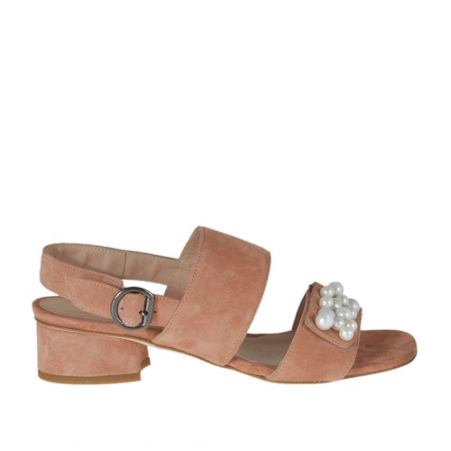Woman's sandal with pearls and elastic band in peach pink suede heel 3 - Available sizes:  32, 33, 43, 44