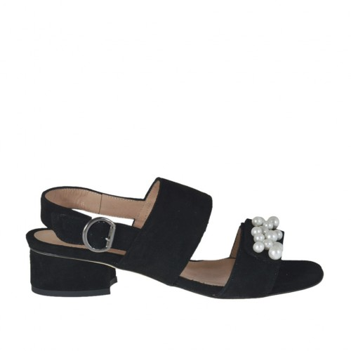 Woman's sandal with pearls and elastic band in black suede heel 3 - Available sizes:  32, 33, 43, 44