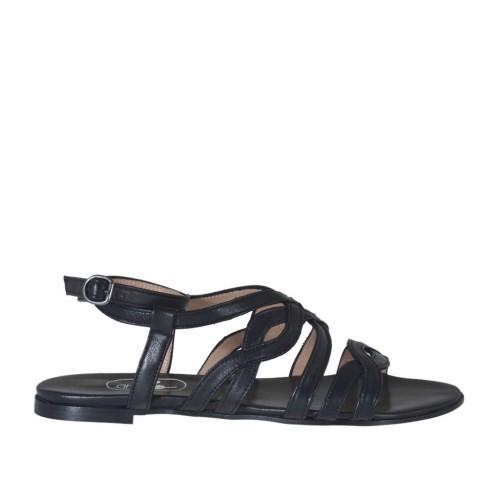 Sandale pour femmes avec courroie et bandes en cuir noir talon 1 - Pointures disponibles:  32, 33, 34