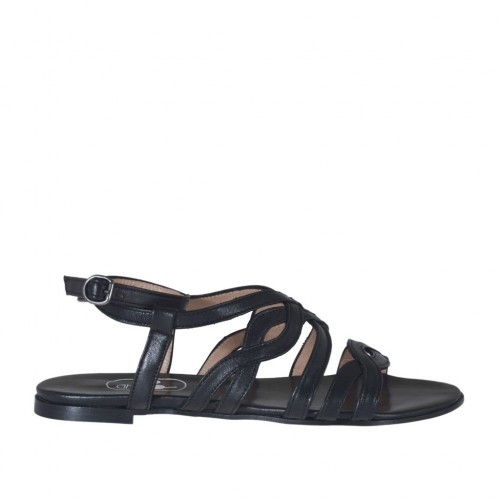Woman's sandal with strap and bands in black leather heel 1 - Available sizes:  32, 33, 34, 43, 44, 45