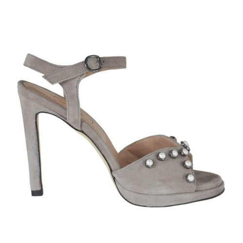 Woman's strap sandal with platform and pearls in grey suede heel 10 - Available sizes:  42, 45