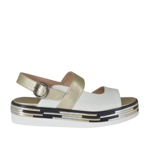 Sandale pour femmes en cuir blanc, platine et noir talon compensé 3 - Pointures disponibles:  32, 33, 34, 42, 43