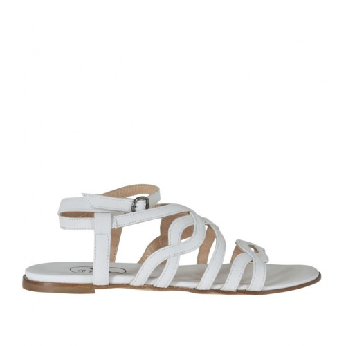 Woman's sandal with strap and bands in white leather heel 1 - Available sizes:  32, 34, 42, 44, 45, 46