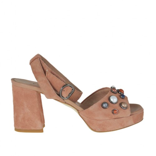 Woman's platform sandal with colored pearls and ankle strap in peach pink suede heel 7 - Available sizes:  42, 44, 45