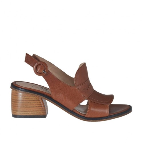 Woman's sandal in tan brown leather heel 5 - Available sizes:  43
