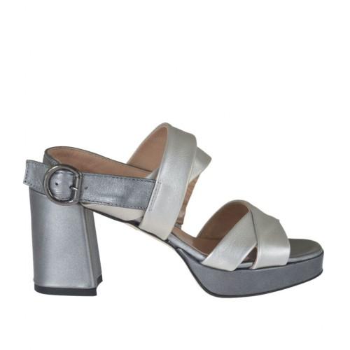 Sandale pour femmes en cuir lamé argent et plomb avec plateforme et talon 7 - Pointures disponibles:  42, 43