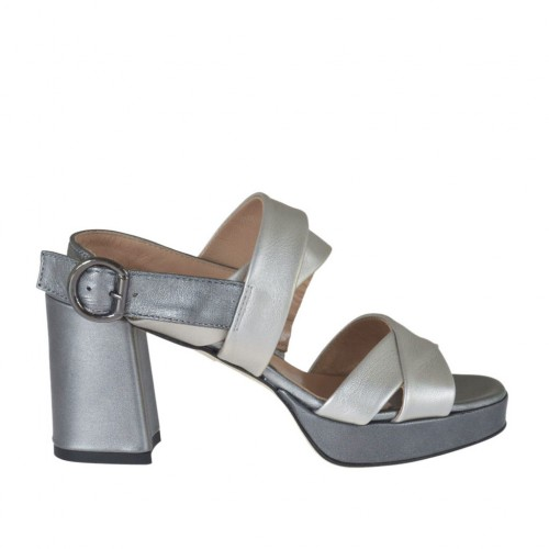 Woman's sandal in silver and lead grey laminated leather with platform and heel 7 - Available sizes:  42, 43, 44, 45