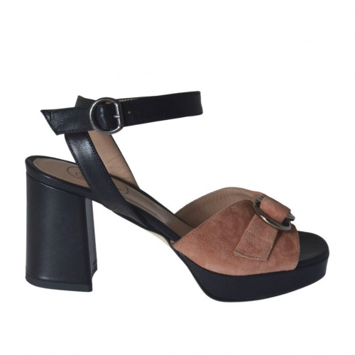 Woman's strap sandal with platform and accessory in black leather and peach pink suede heel 7 - Available sizes:  42, 44, 45