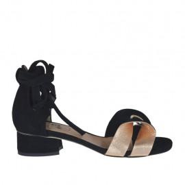 Zapato abierto para mujer con cordones en gamuza negra y piel laminada cobre tacon 3 - Tallas disponibles:  32, 33, 34, 42, 43
