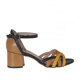 Scarpa aperta con cinturino da donna in pelle beige, nera e giallo ocra tacco 5 - Misure disponibili: 32, 33, 34, 42, 43, 44, 45