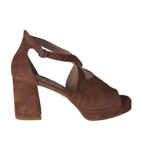 Zapato abierto para mujer con cinturon y plataforma en gamuza de color marron tacon 7 - Tallas disponibles:  32, 42, 43, 44, 45