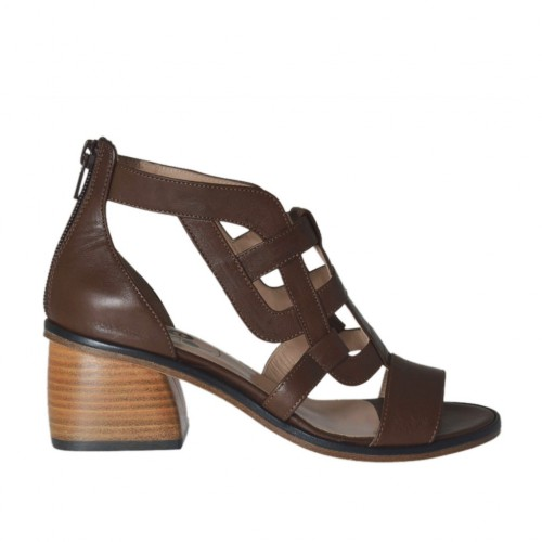 Woman's open shoe with zipper in dark brown leather heel 5 - Available sizes:  43